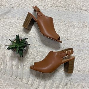 Old Navy cognac brown peep toe sling back heels